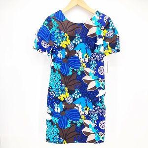 Trina Turk  10 Blue Yellow Floral Dress L7-8